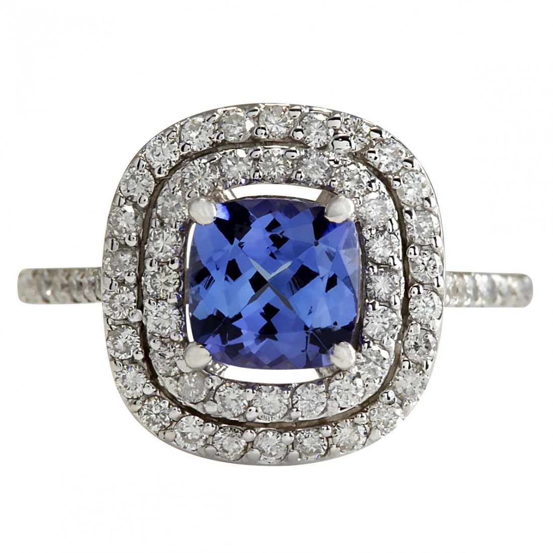 2.20 CTW Natural Blue Tanzanite And Diamond Ring In 14K