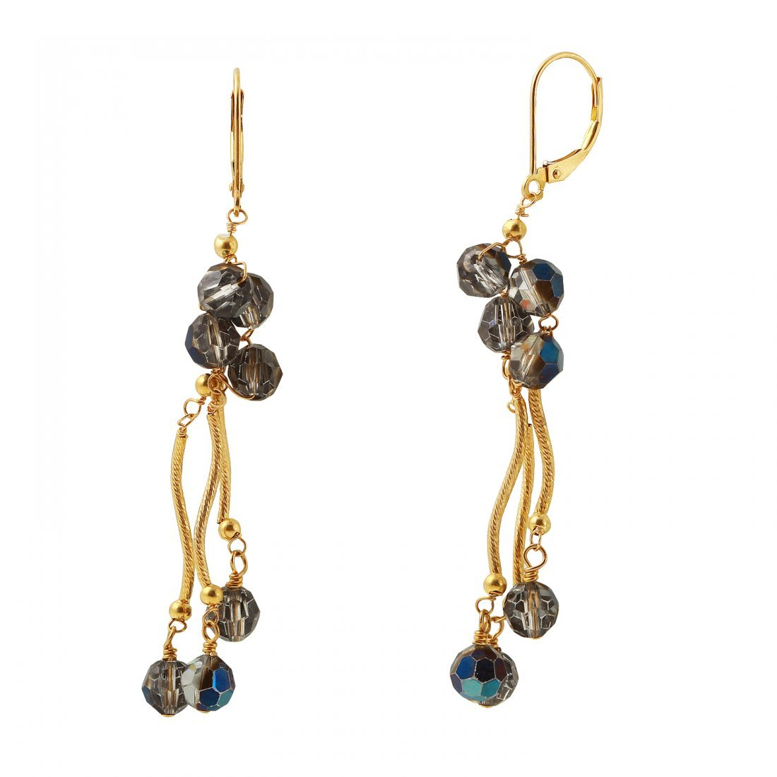 Ladies 14K Yellow Gold Earrings With Crystal