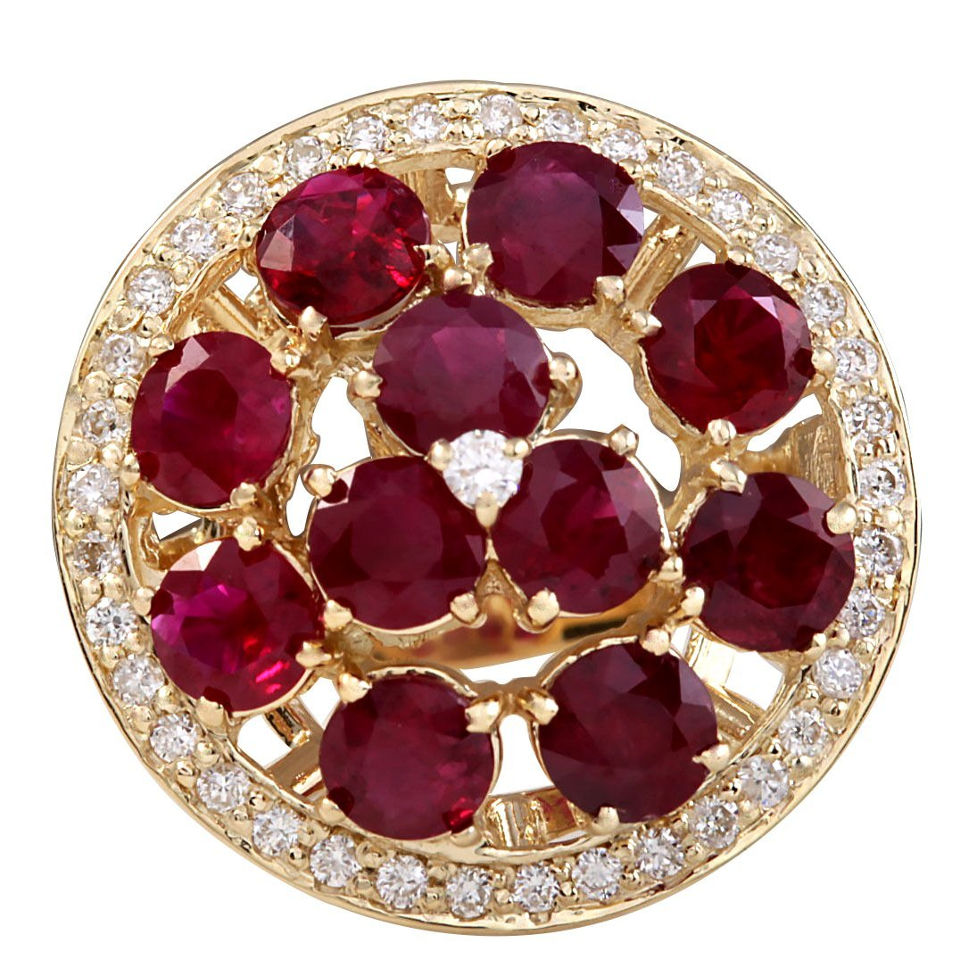 4.93CTW Natural Red Ruby And Diamond Ring 14K Solid