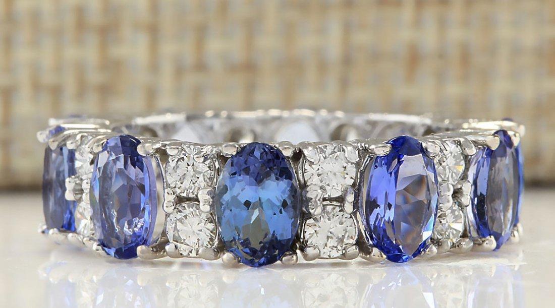 6.94CTW Natural Tanzanite And Diamond Ring In 14K White