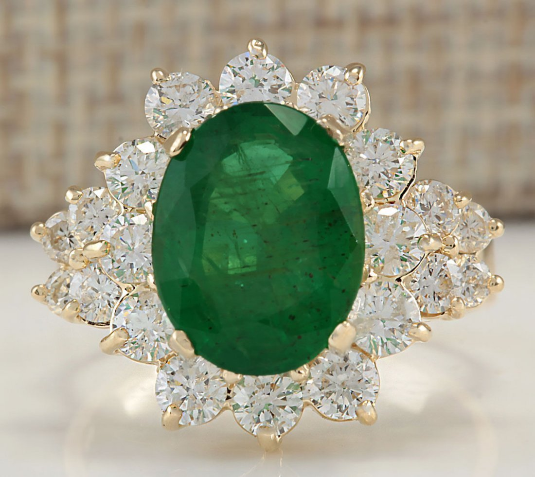 5.30CTW Natural Emerald And Diamond Ring In 14K Yellow
