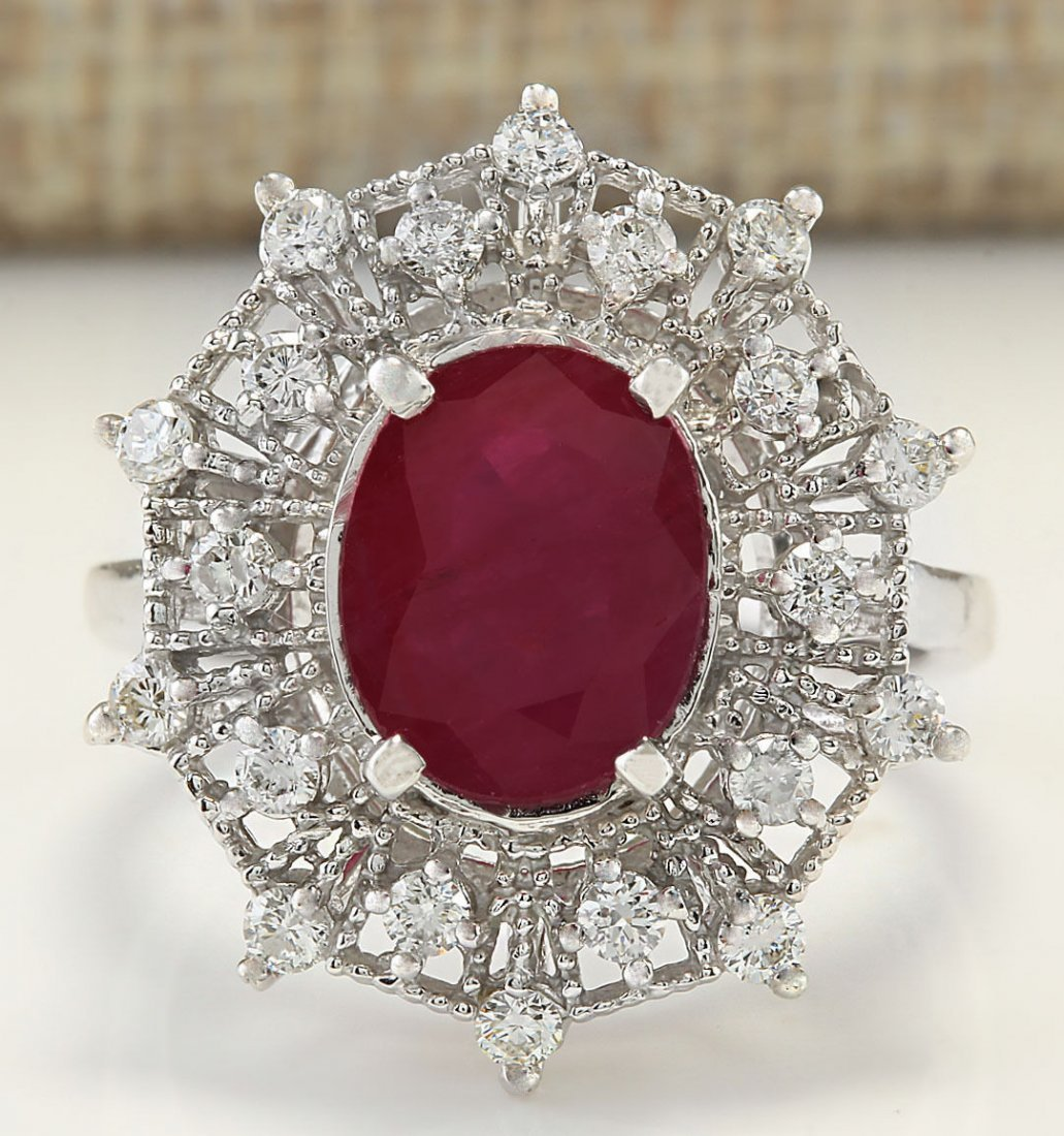 3.87CTW Natural Ruby And Diamond Ring In 14K White Gold