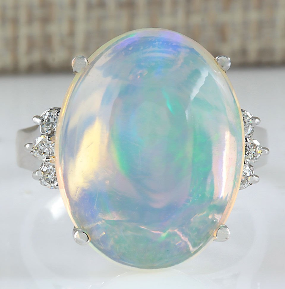 9.82CTW Natural Opal And Diamond Ring 14K Solid White