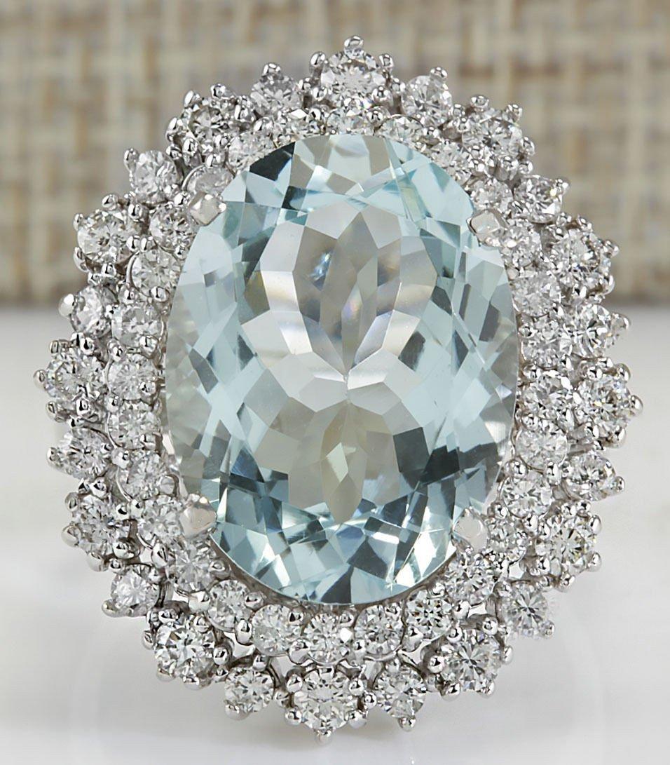9.68CTW Natural Blue Aquamarine And Diamond Ring In 14K