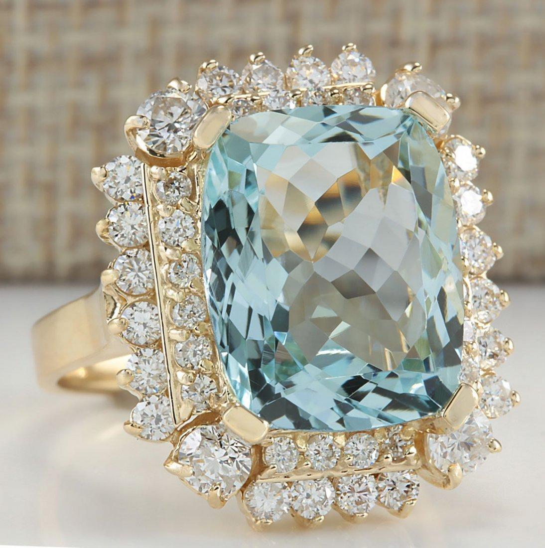 9.51CTW Natural Aquamarine And Diamond Ring 14K Solid - 2