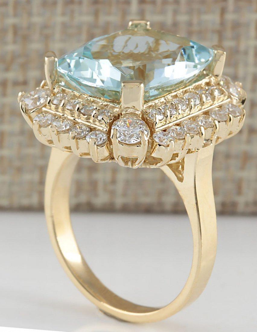 9.51CTW Natural Aquamarine And Diamond Ring 14K Solid - 3