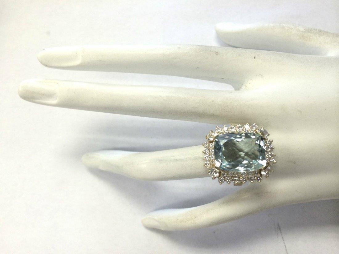 9.51CTW Natural Aquamarine And Diamond Ring 14K Solid - 4