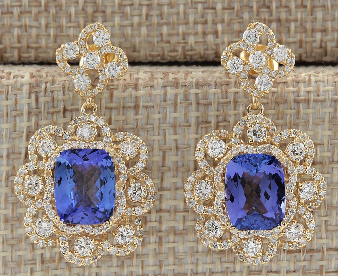 9.30CTW Natural Tanzanite And Diamond Earrings 14K