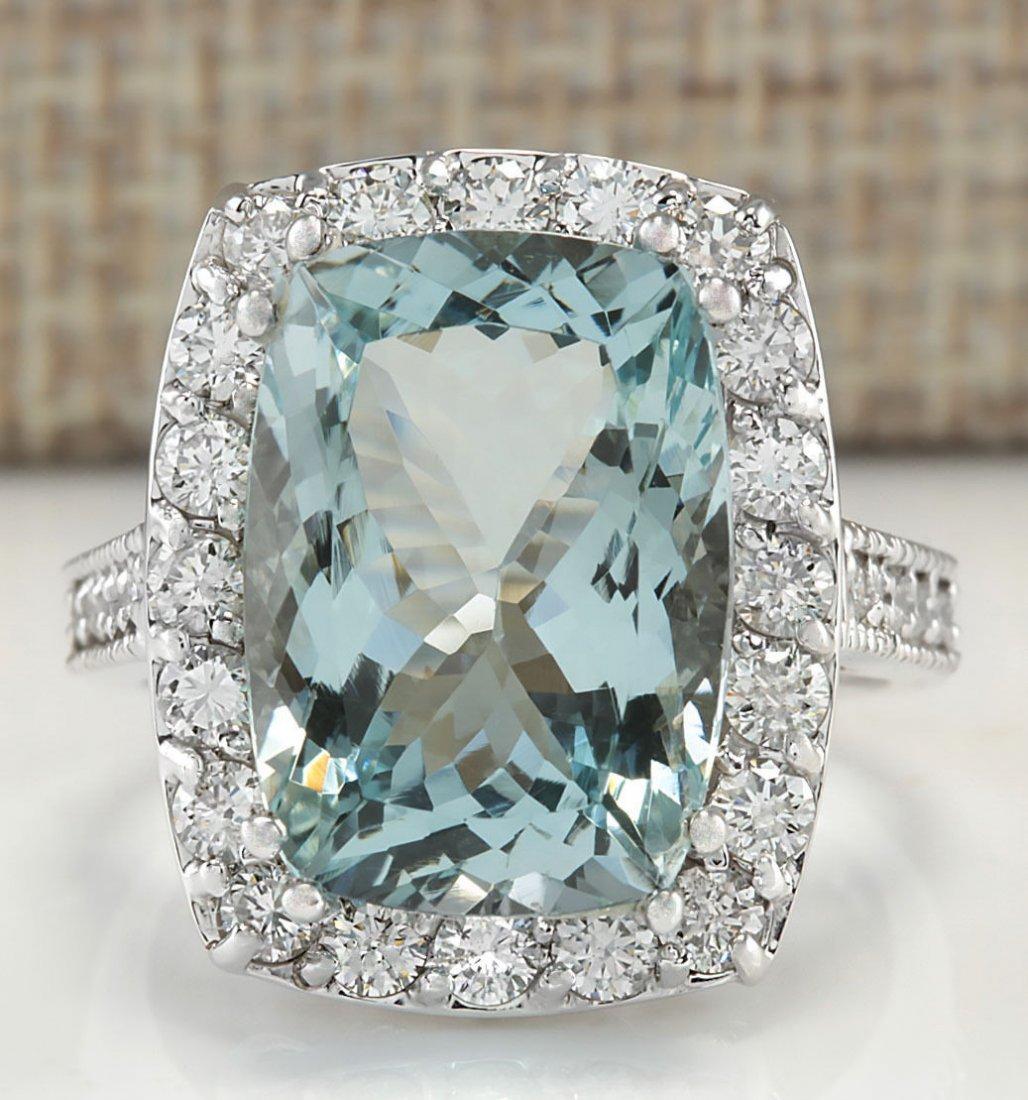 8.82CTW Natural Aquamarine And Diamond Ring In 14K