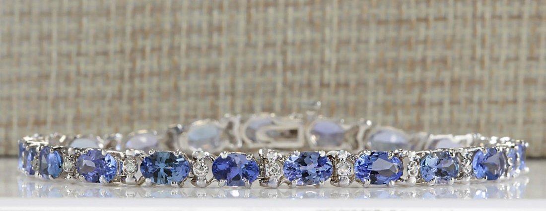 8.74CTW Natural Blue Tanzanite Bracelet In 14K White