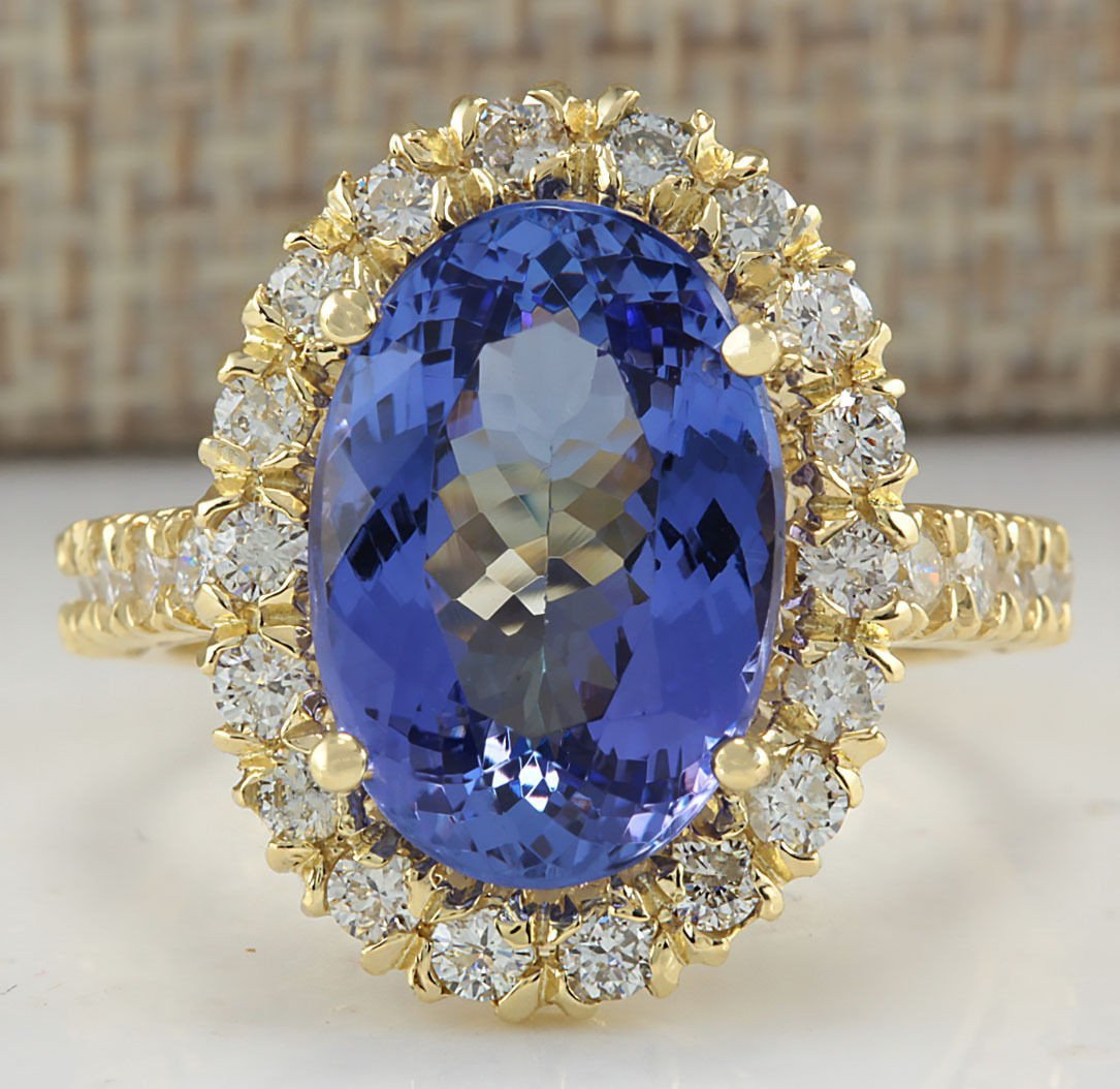 7.92CTW Natural Blue Tanzanite And Diamond Ring In 18K