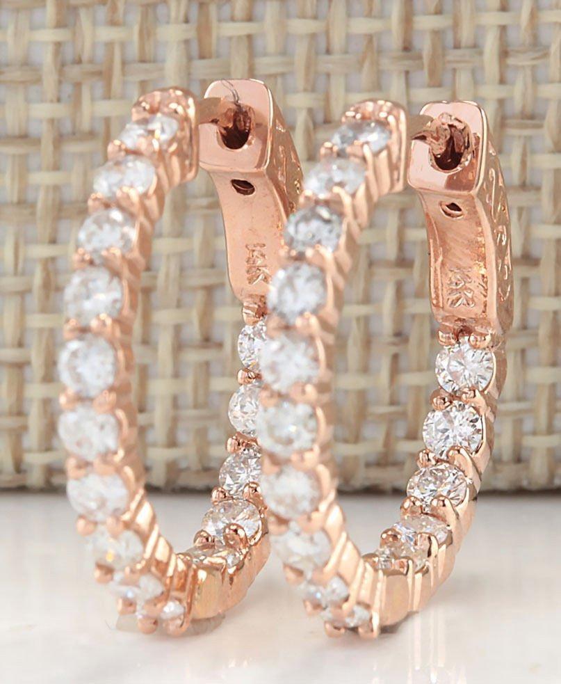 2.00CTW Natural Diamond Hoop Earrings 14K Solid Rose