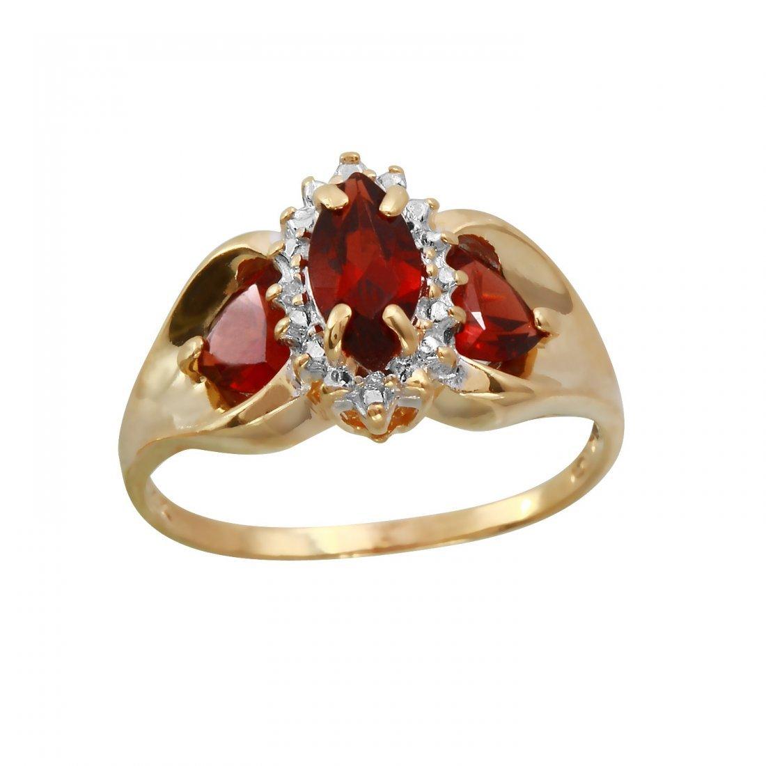 Ladies 1.31 CTW Garnet And Diamond 14K Yellow Gold Ring