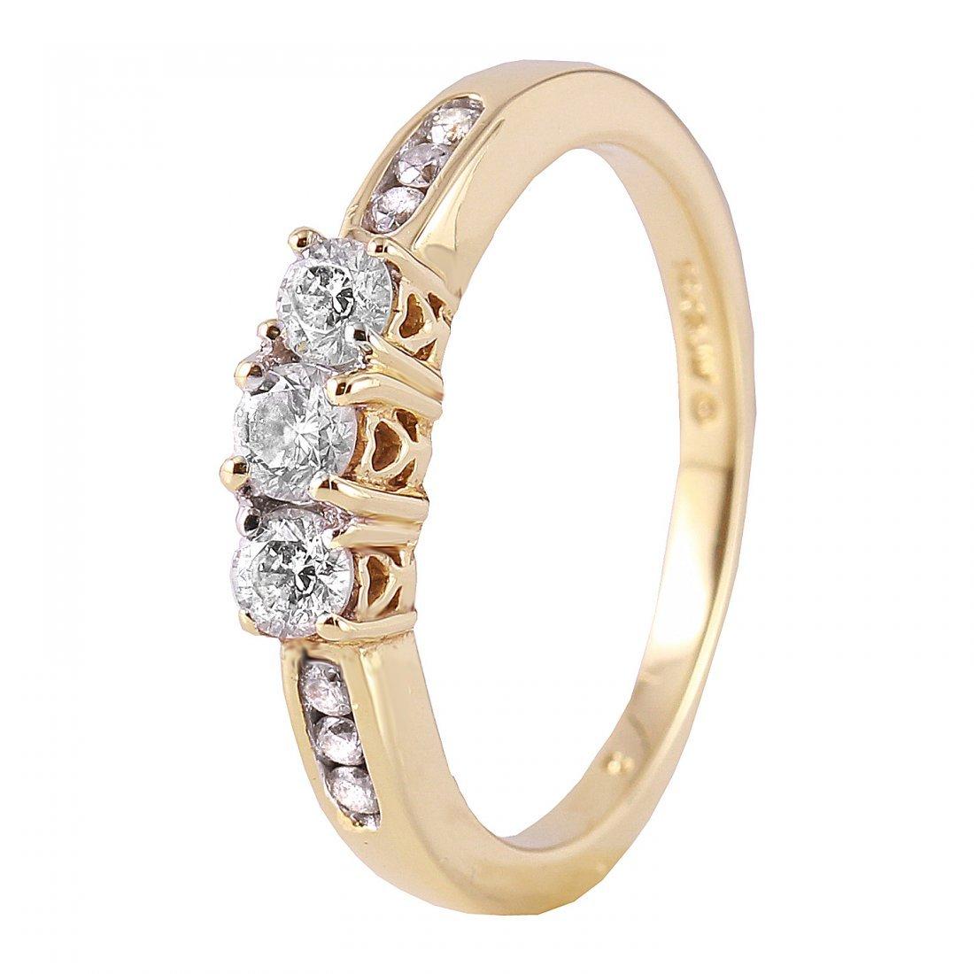 Ladies 0.5CTW Diamond 14K Yellow Gold Ring