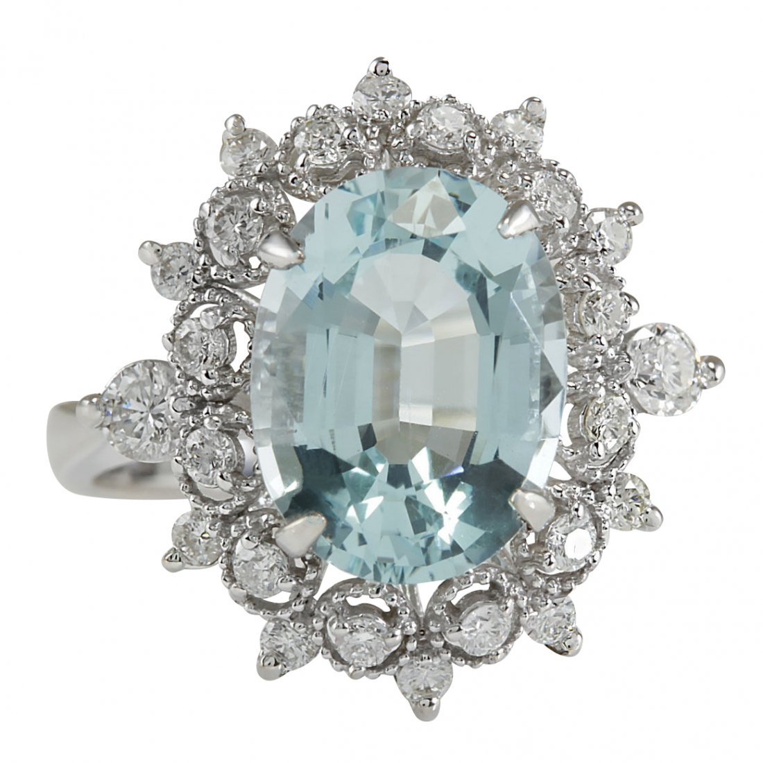 4.48CTW Natural Aquamarine And Diamond Ring In 14K