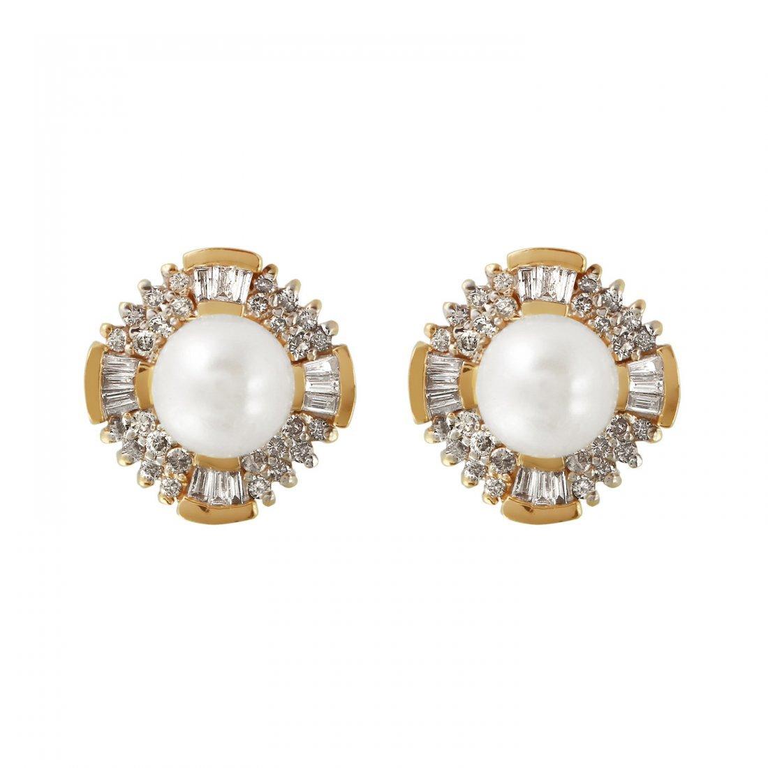 Ladies 1.02CTW  Pearl And Diamond 14K Yellow Gold