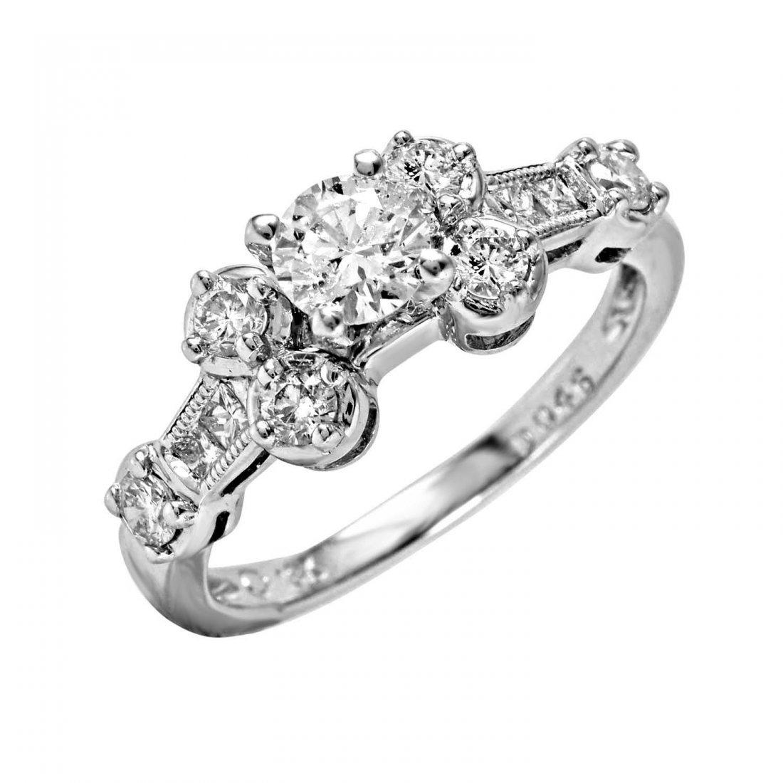 Ladies 1CTW Diamond 18k White Gold Ring