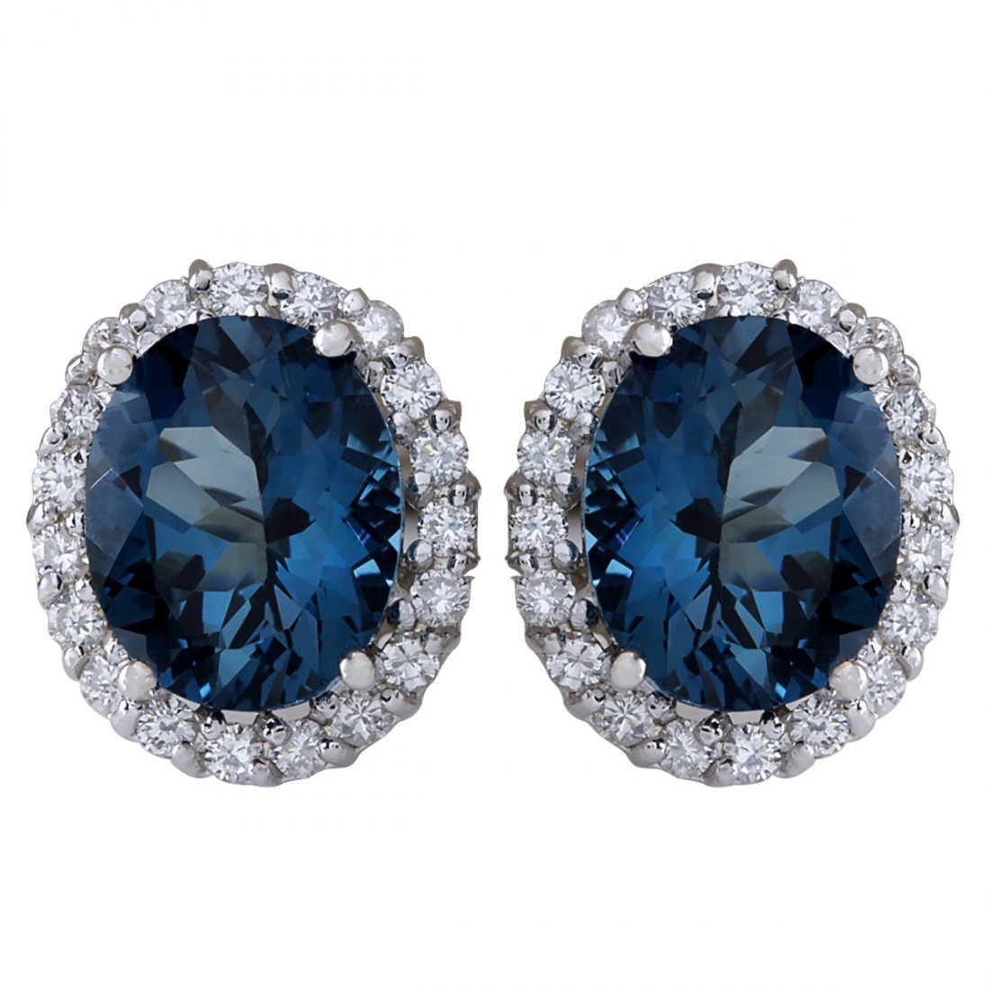 8.50CTW Natural Topaz And Diamond Earrings 14K Solid
