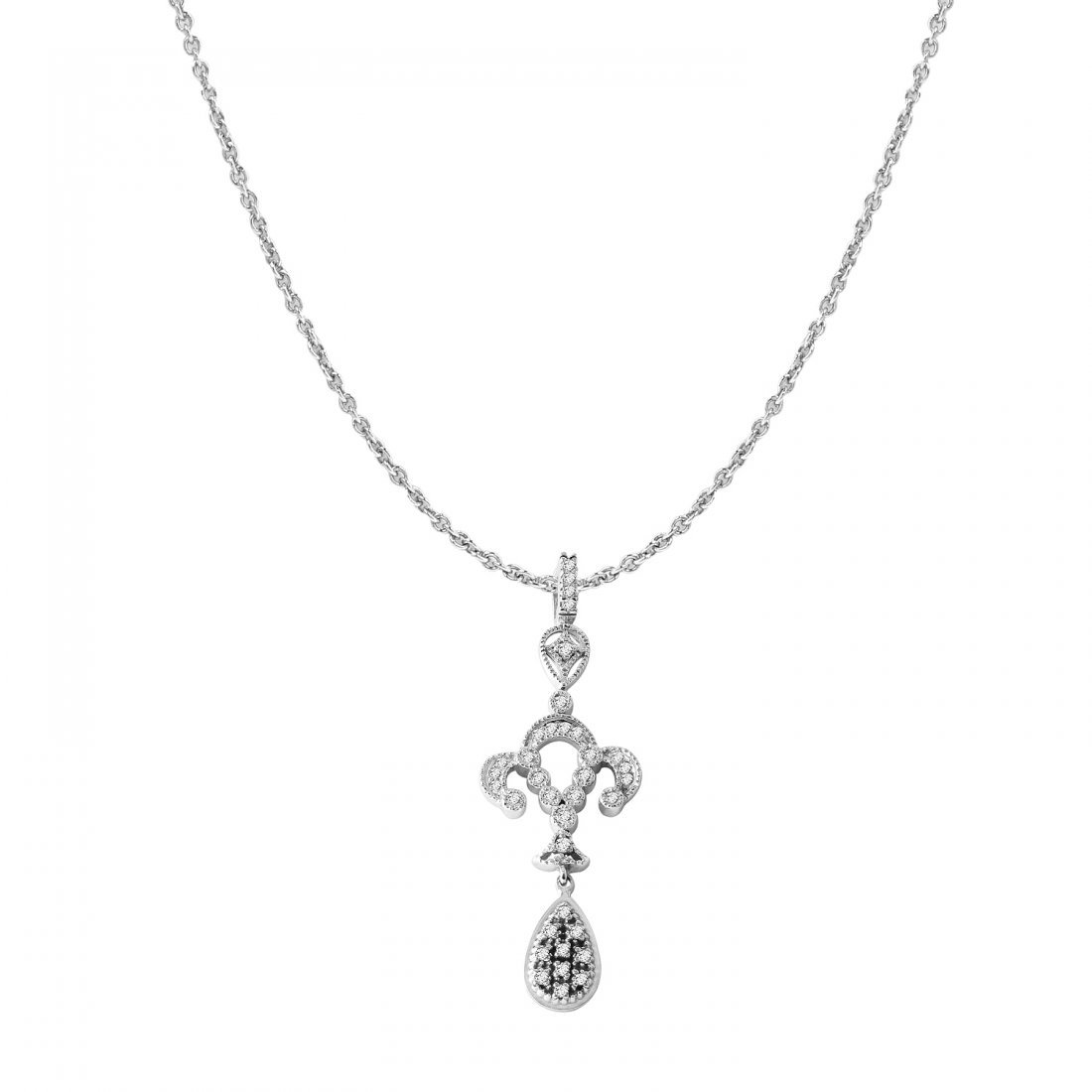 Ladies 0.78CTW Diamond 14K White Gold Necklace