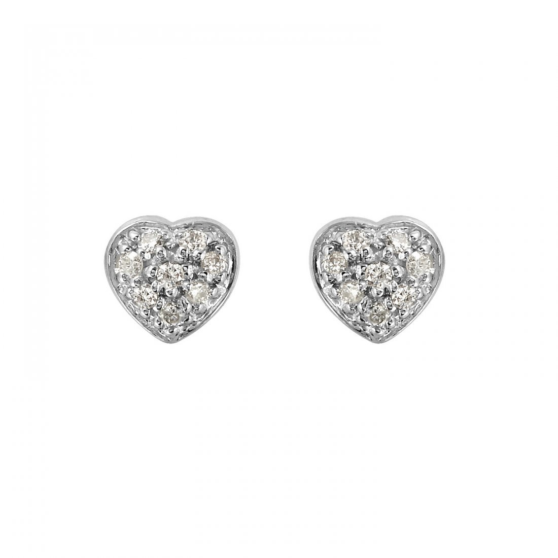 Ladies 0.08CTW Diamond 18k White Gold Earrings
