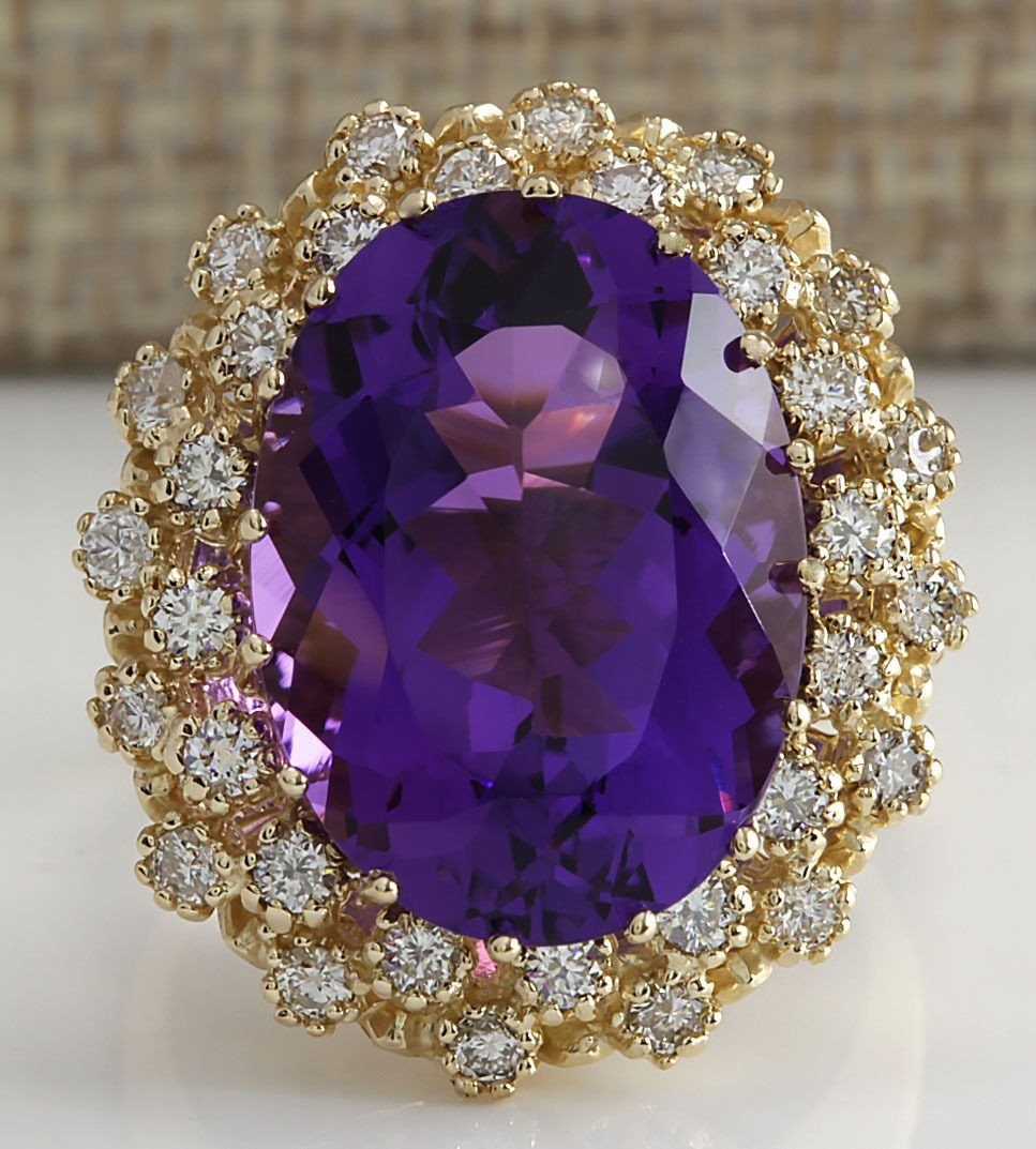 12.11CTW Natural Amethyst And Diamond Ring In 14K Solid