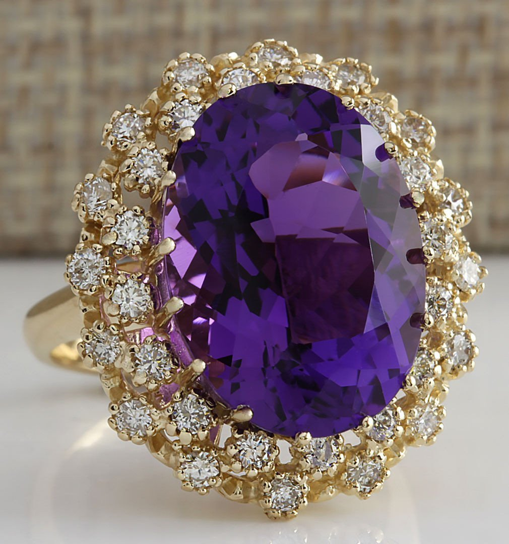 12.11CTW Natural Amethyst And Diamond Ring In 14K Solid - 2