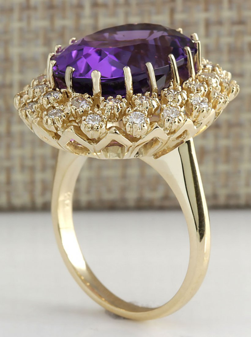 12.11CTW Natural Amethyst And Diamond Ring In 14K Solid - 3