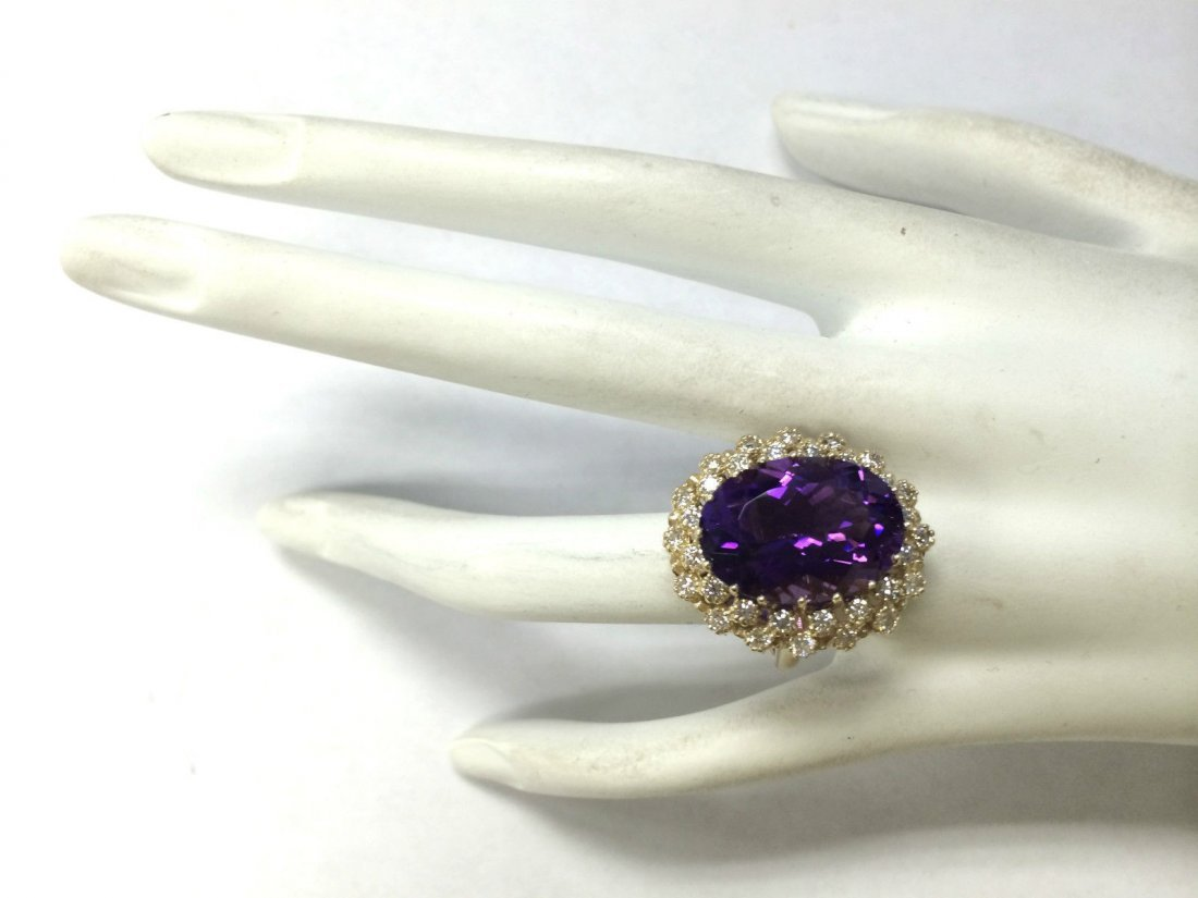 12.11CTW Natural Amethyst And Diamond Ring In 14K Solid - 4