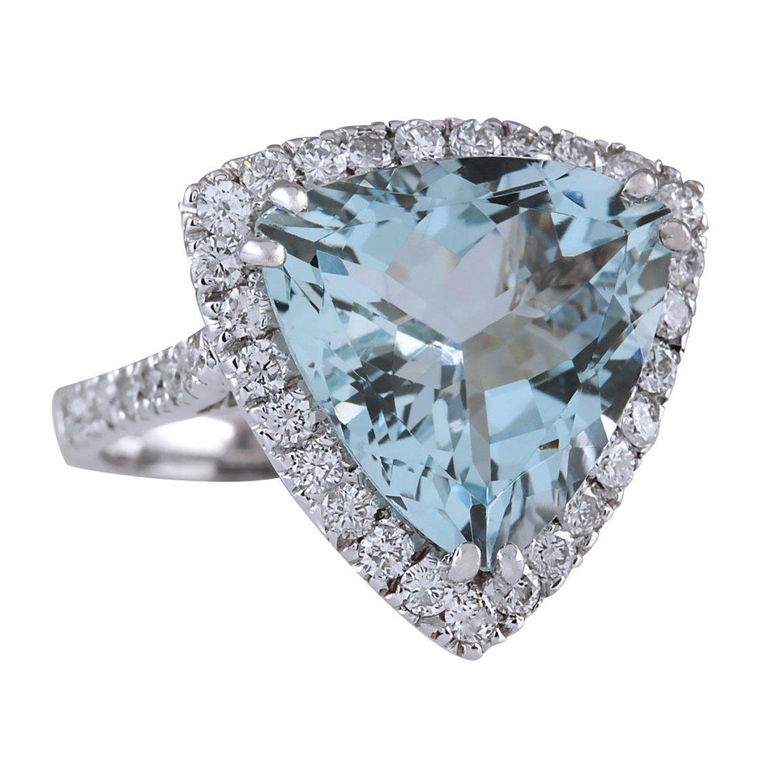 7.75CTW Natural Aquamarine And Diamond Ring In 14K - 2