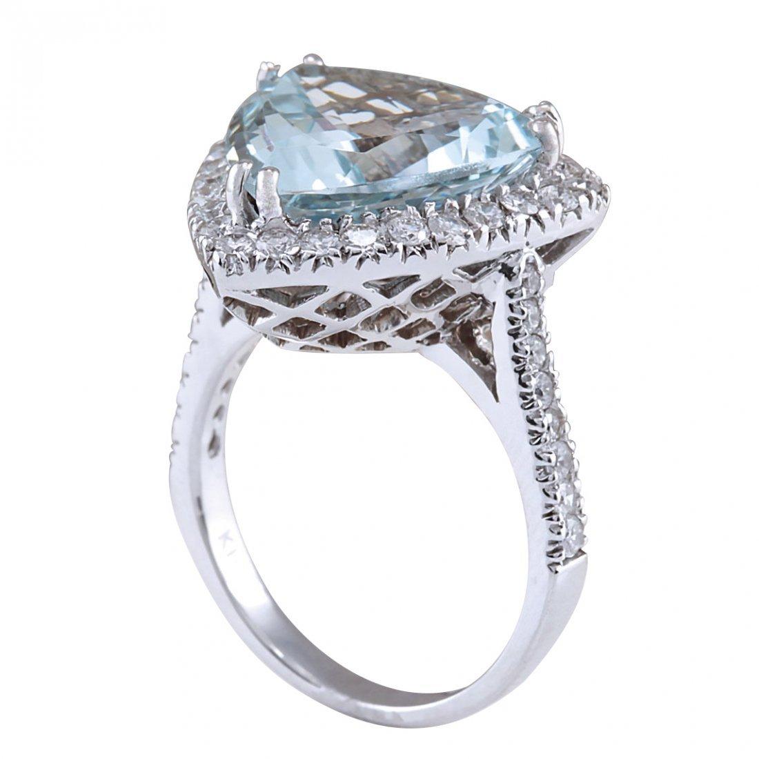 7.75CTW Natural Aquamarine And Diamond Ring In 14K - 3
