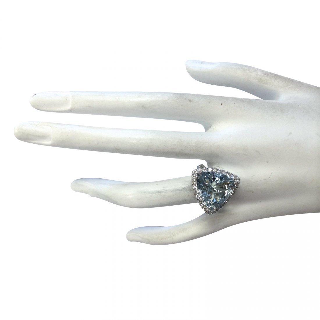 7.75CTW Natural Aquamarine And Diamond Ring In 14K - 4