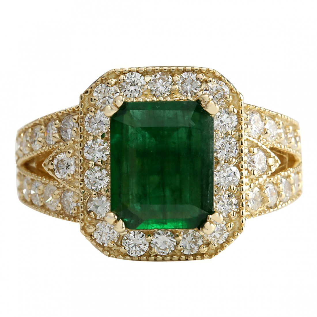 3.29CTW Natural Emerald And Diamond Ring 14K Solid