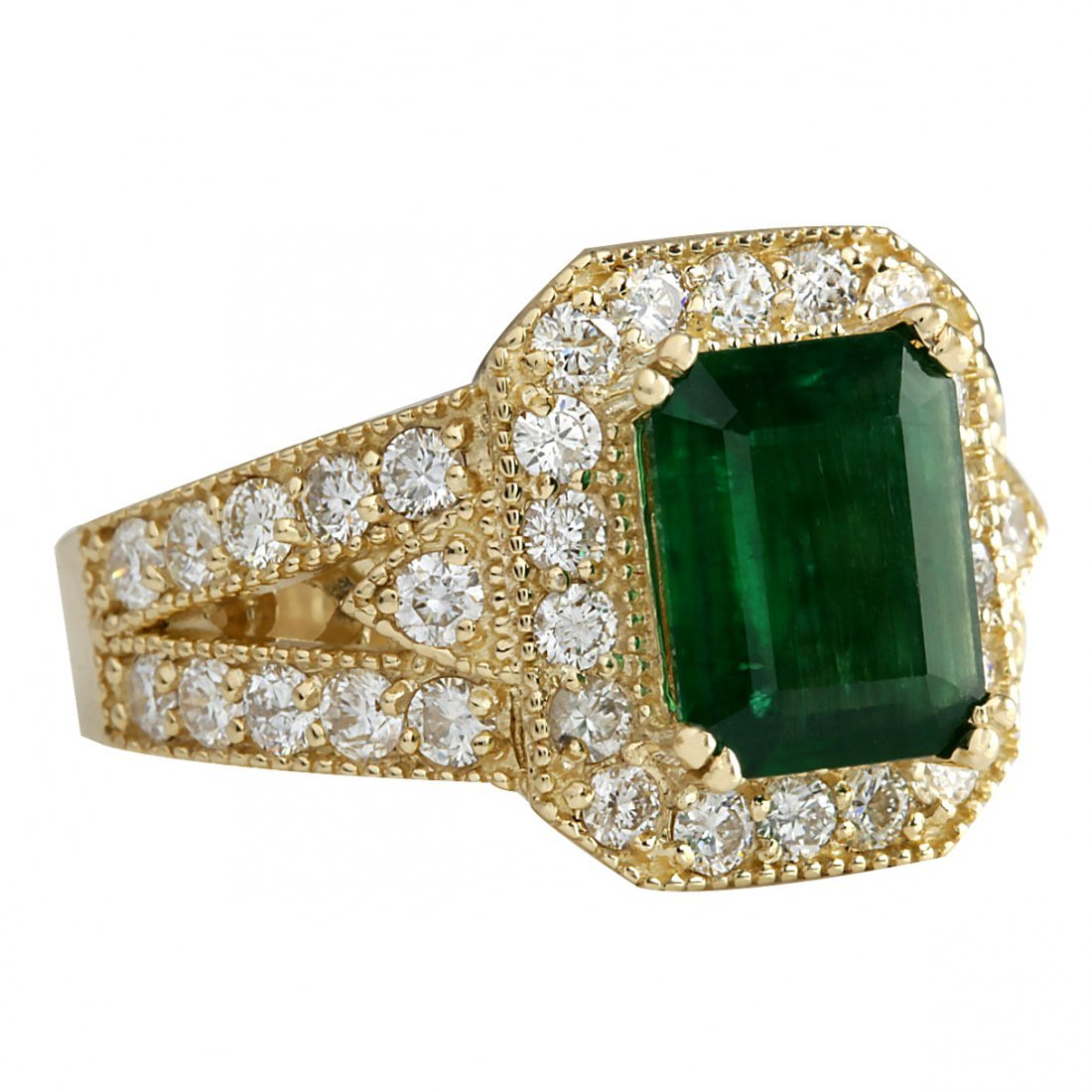 3.29CTW Natural Emerald And Diamond Ring 14K Solid - 2