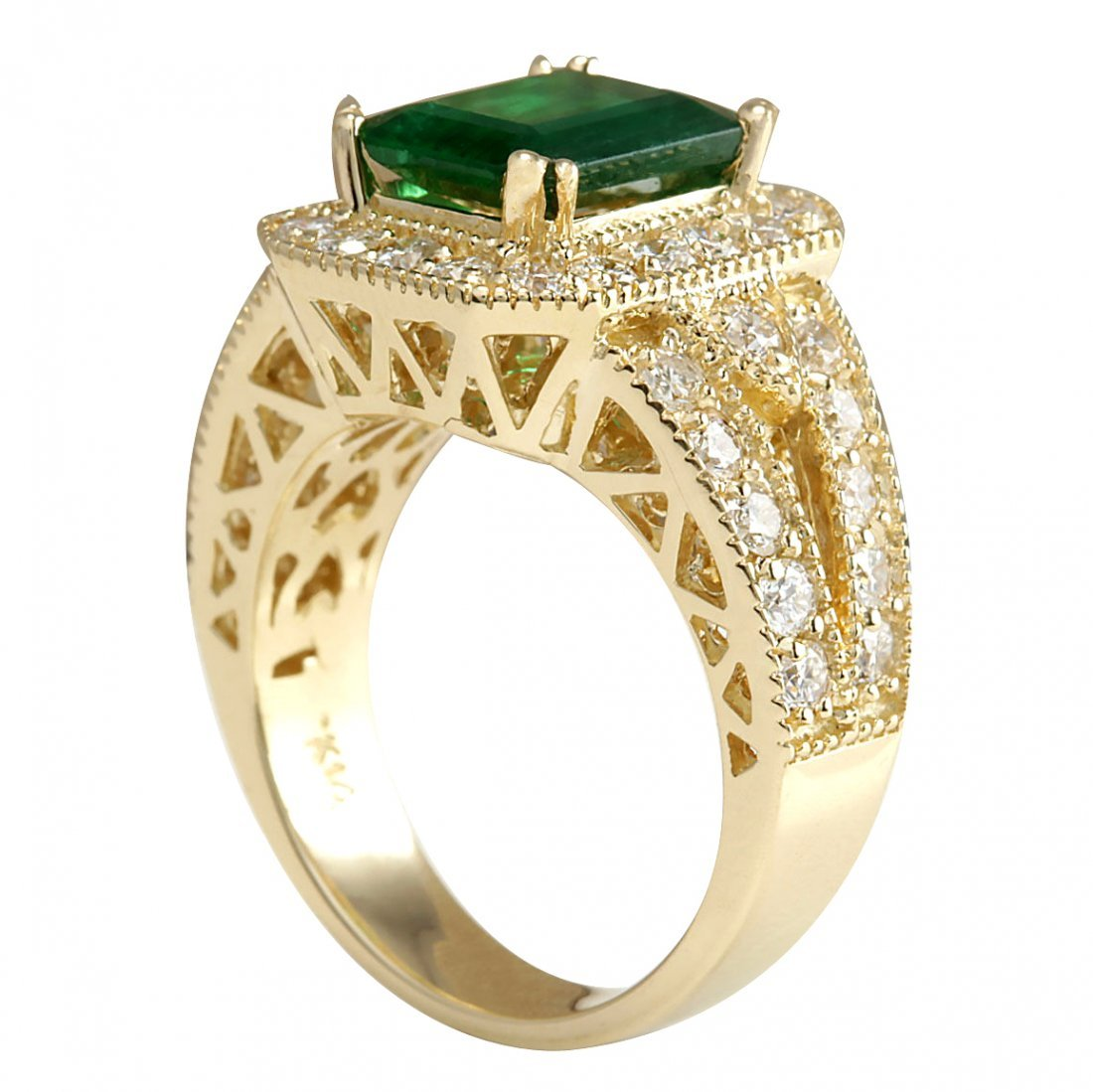 3.29CTW Natural Emerald And Diamond Ring 14K Solid - 3