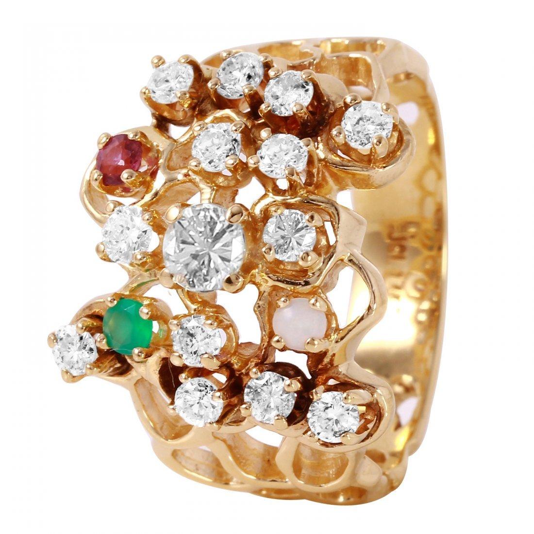 Ladies 1CTW Diamond And Multigem 14K Yellow Gold Ring