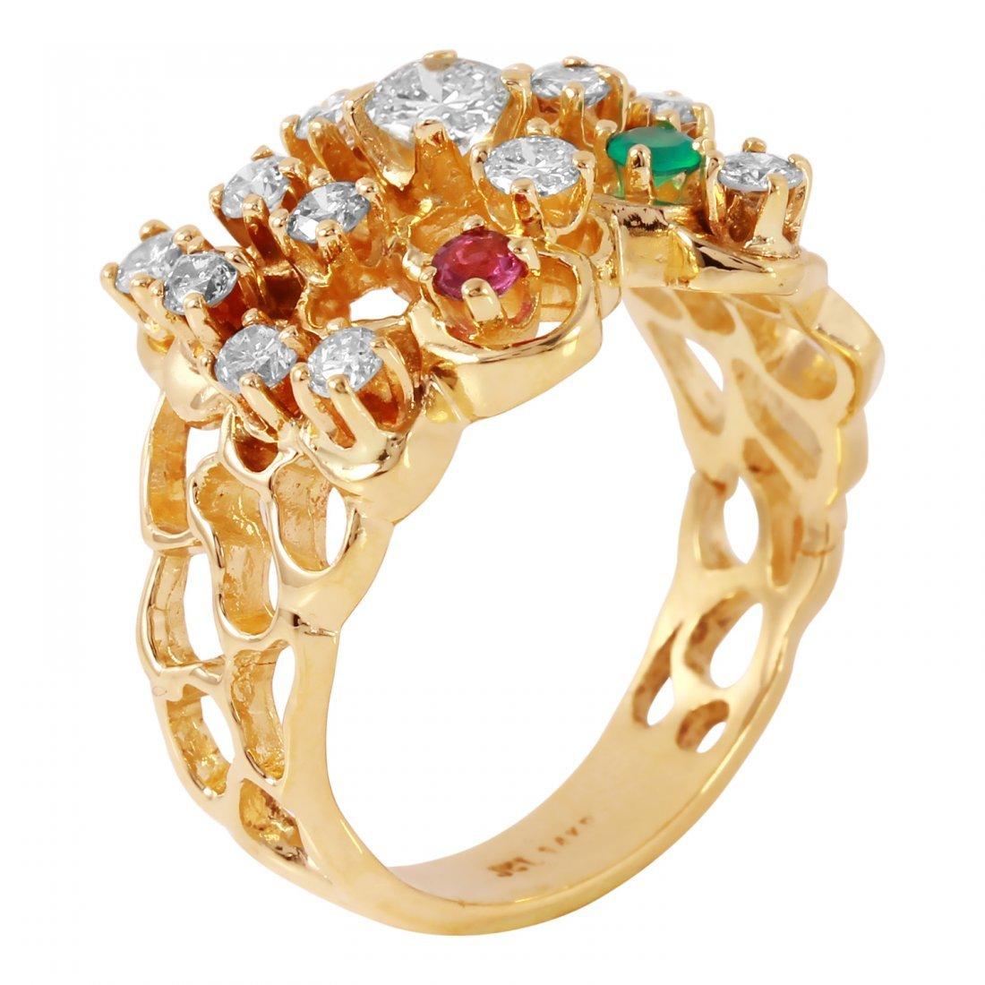 Ladies 1CTW Diamond And Multigem 14K Yellow Gold Ring - 2