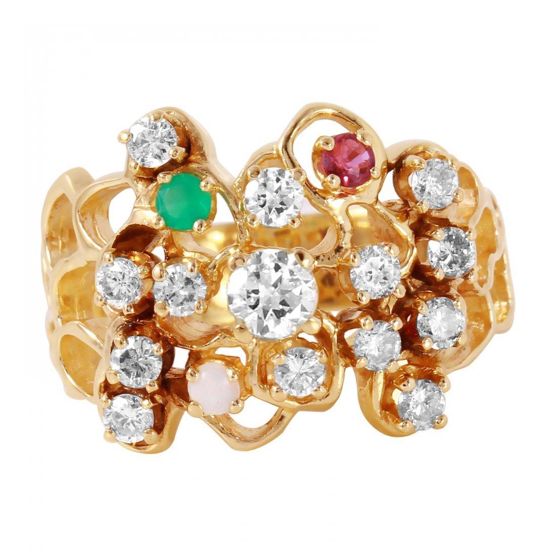 Ladies 1CTW Diamond And Multigem 14K Yellow Gold Ring - 3