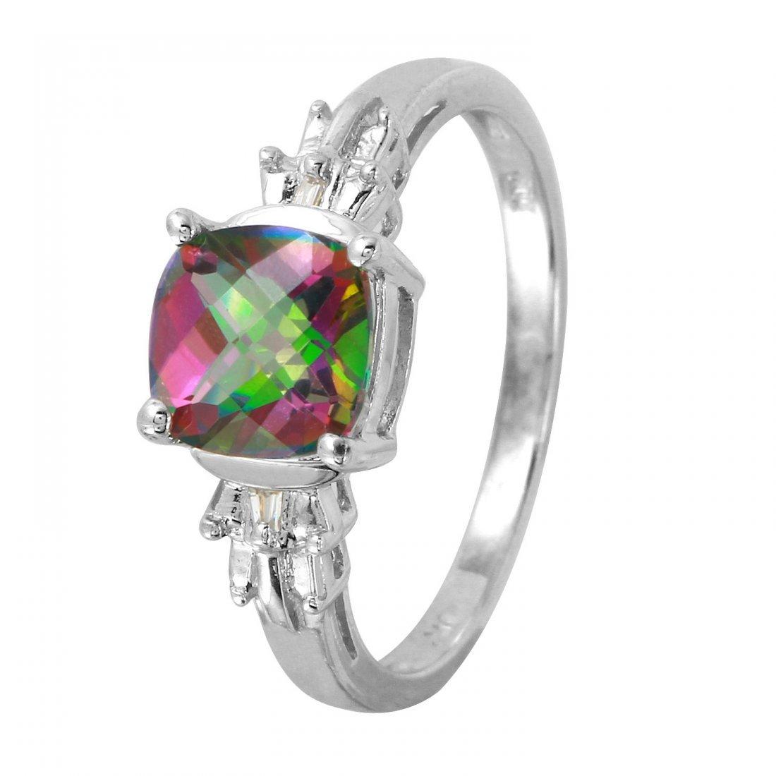 Ladies 2.12CTW Topaz And Diamond 10k White Gold Ring