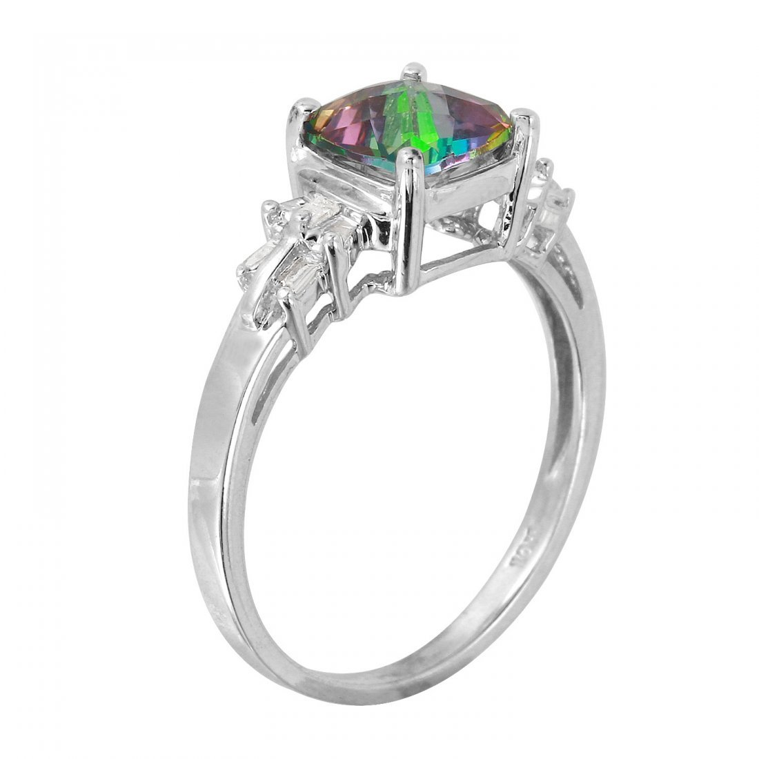 Ladies 2.12CTW Topaz And Diamond 10k White Gold Ring - 2