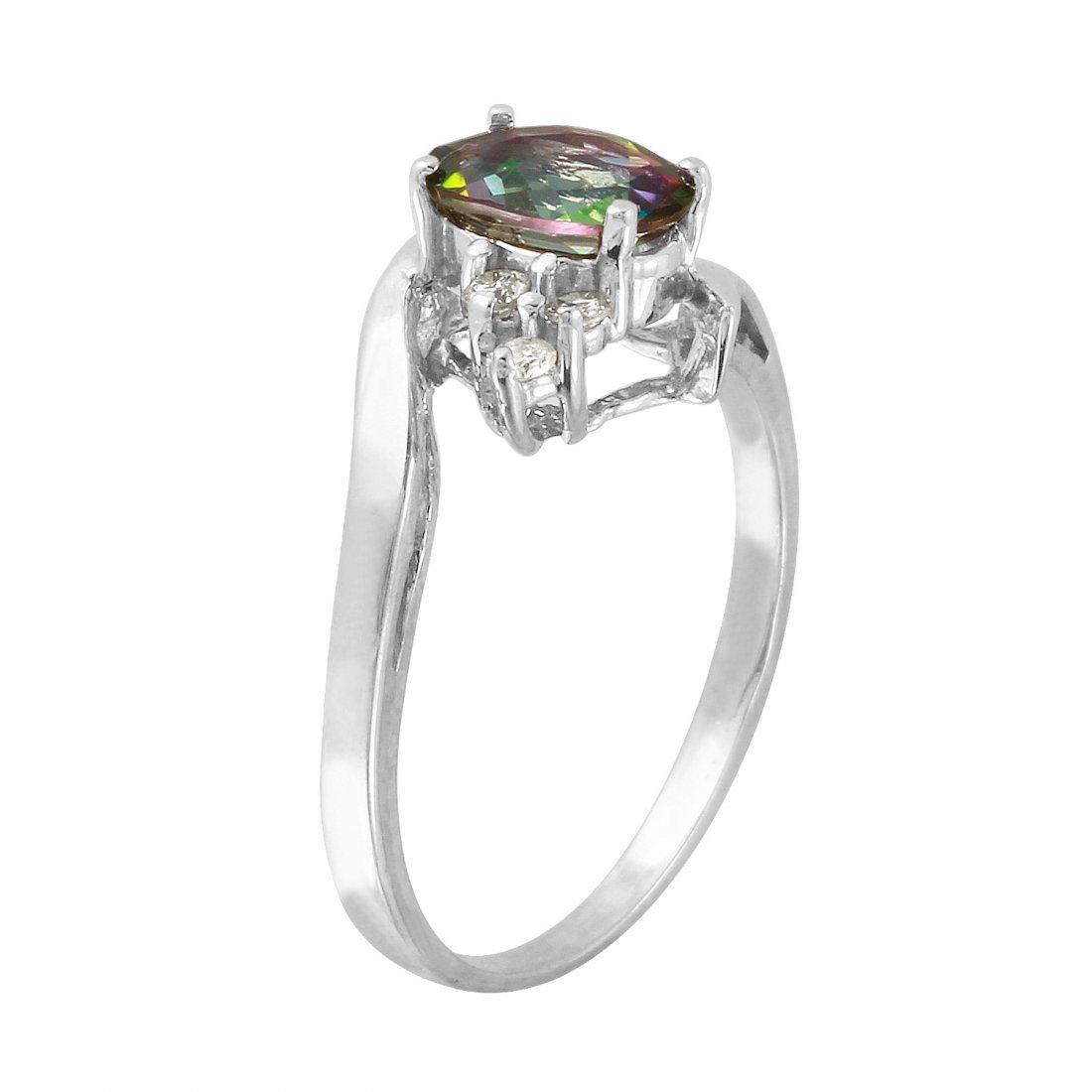Ladies 1.15CTW Topaz And Diamond 14K White Gold Ring - 2