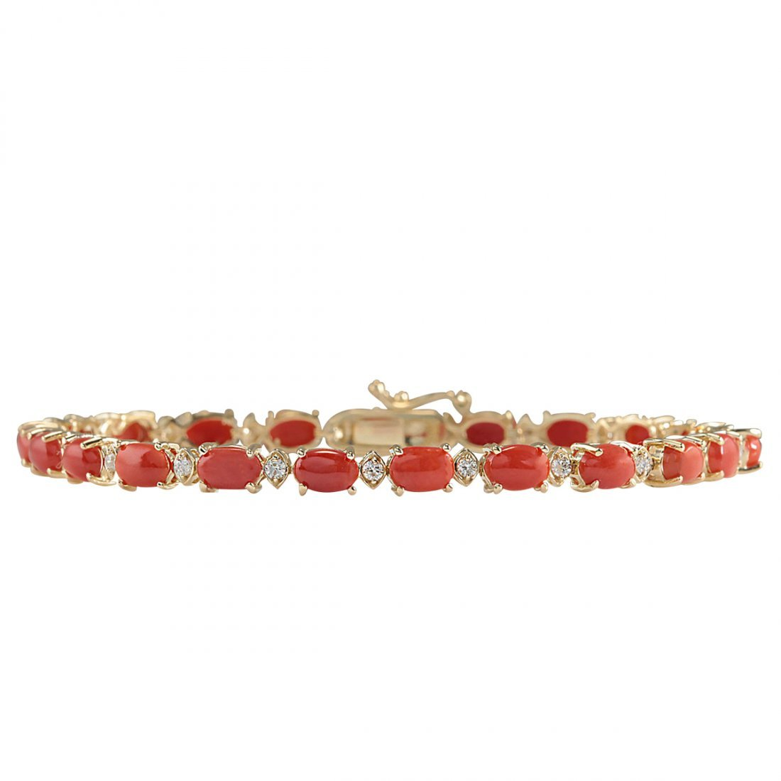 8.77CTW Natural Red Coral And Diamond Bracelet In 14K