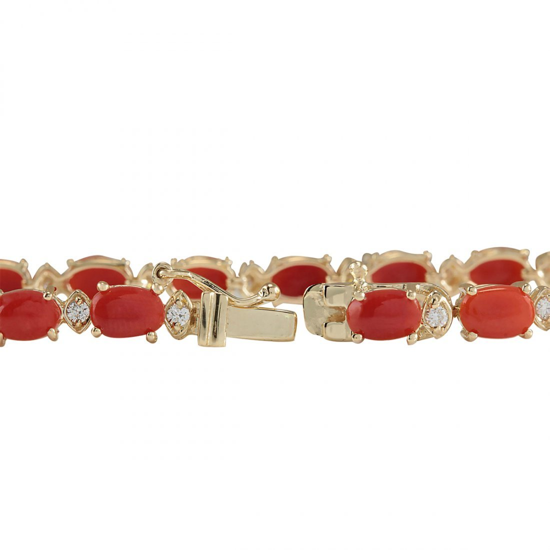 8.77CTW Natural Red Coral And Diamond Bracelet In 14K - 2