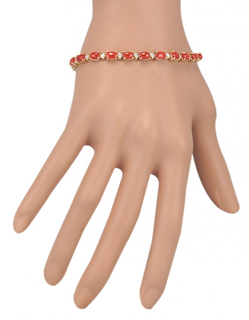 8.77CTW Natural Red Coral And Diamond Bracelet In 14K - 3