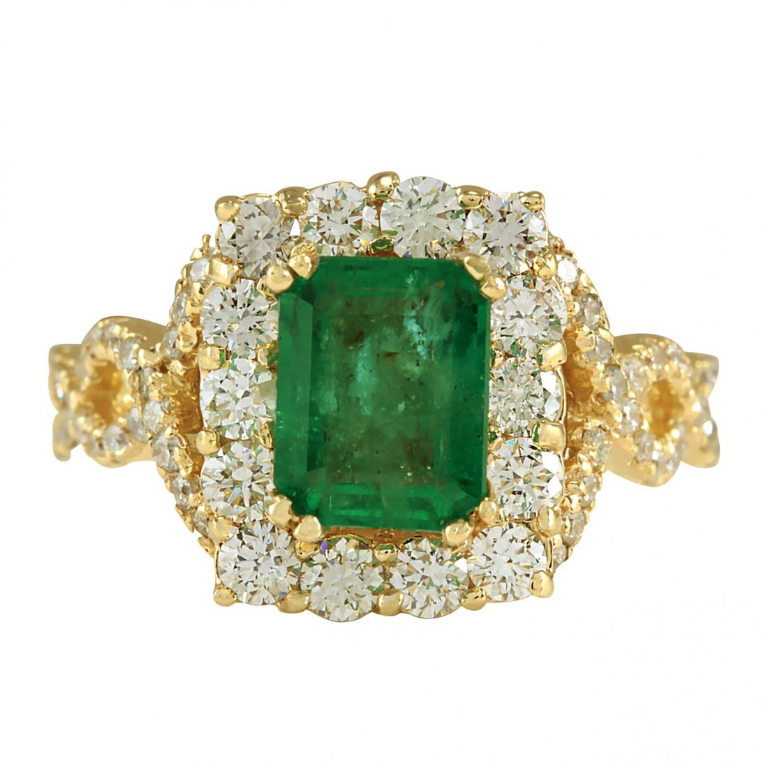 3.18CTW Natural Emerald And Diamond Ring In 14K Yellow