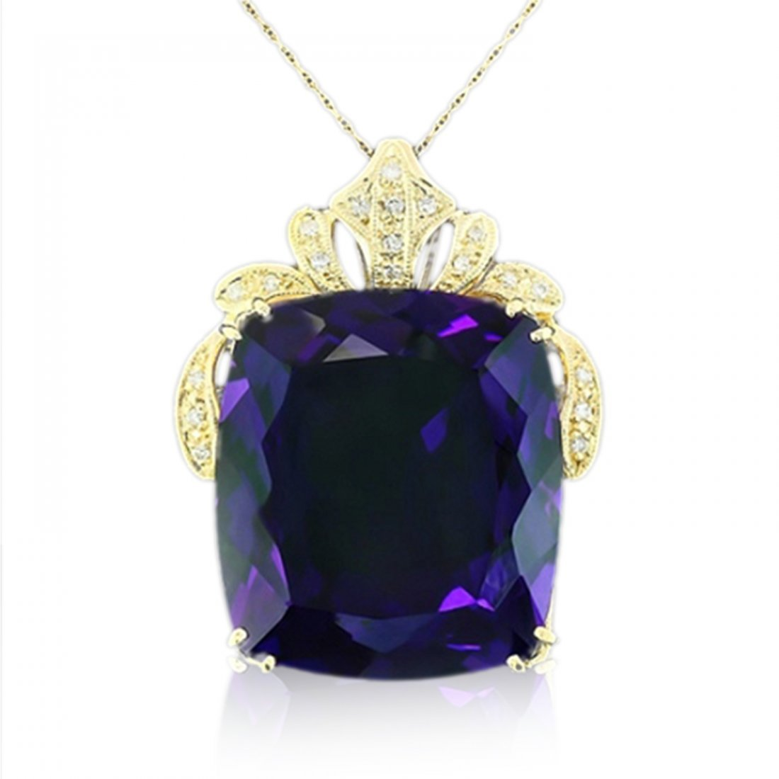 14K Amethyst and Diamond Necklace