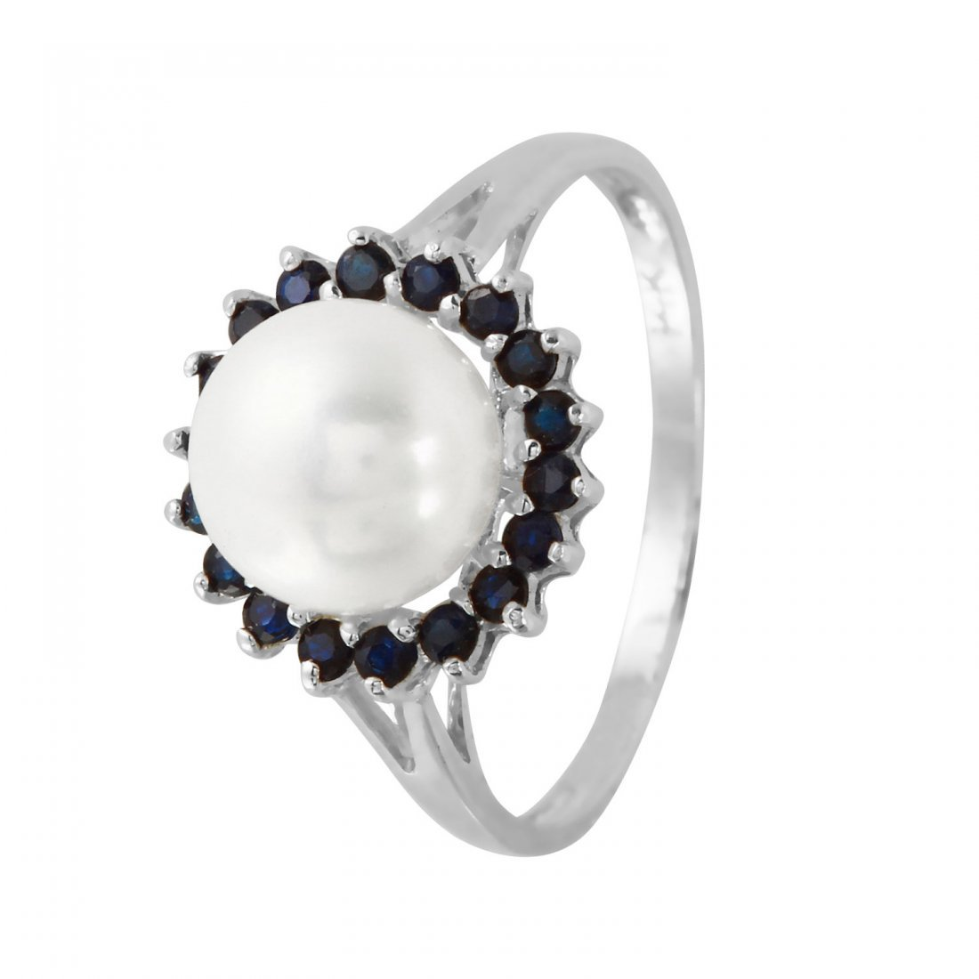 Ladies 0.43CTW Sapphire And Freshwater Pearl 14K White