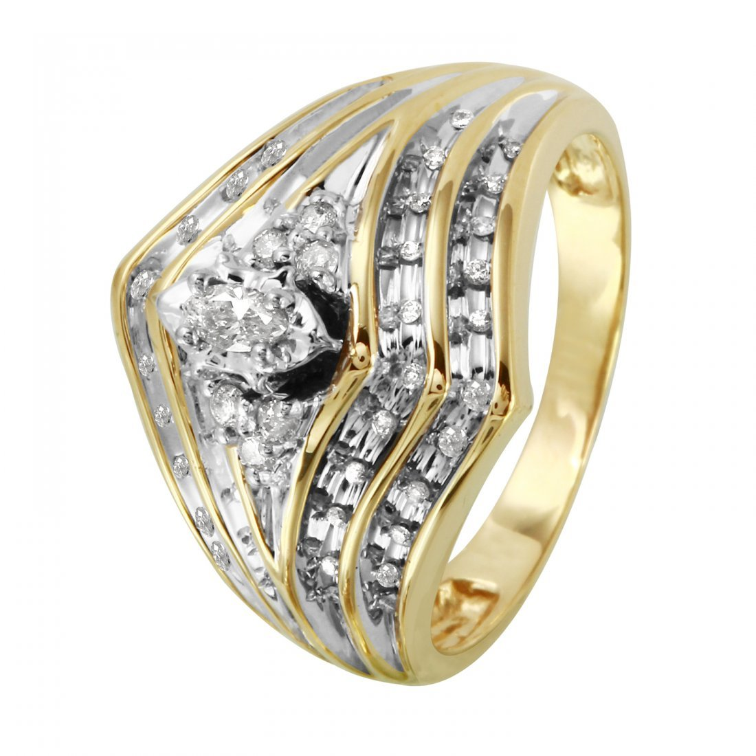 Ladies 0.28CTW Diamond 14K Two tone Gold Ring