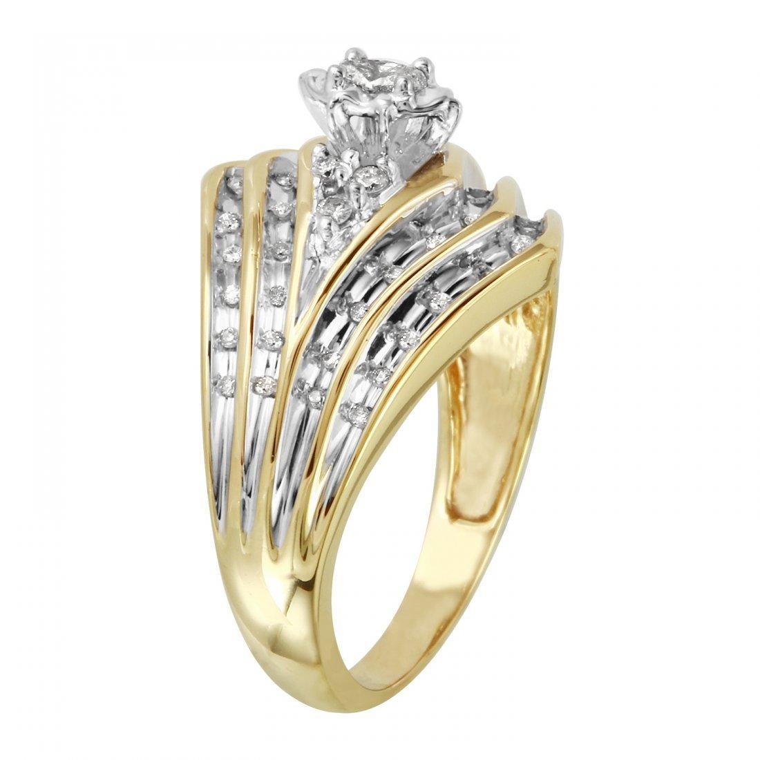 Ladies 0.28CTW Diamond 14K Two tone Gold Ring - 2