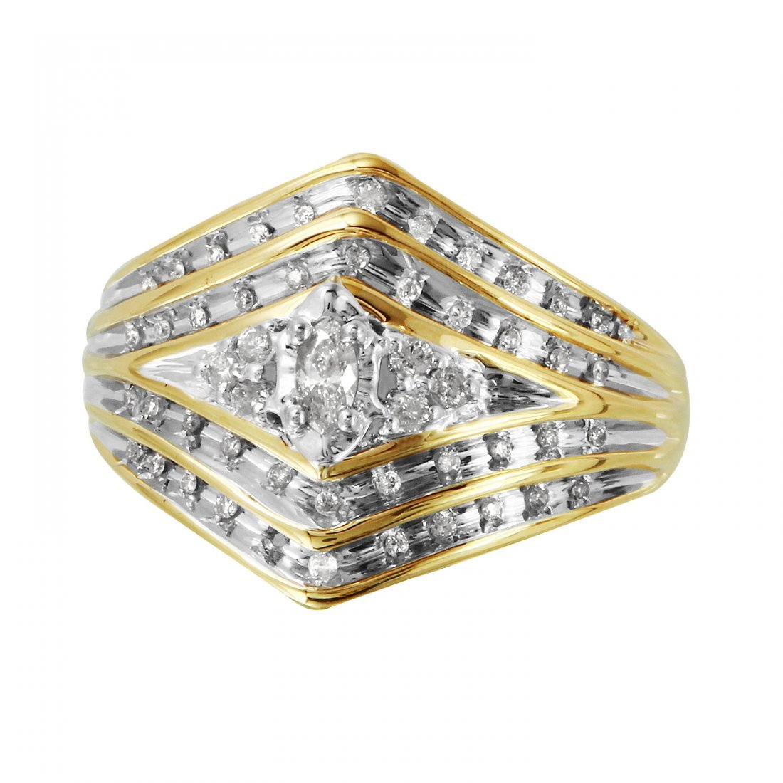 Ladies 0.28CTW Diamond 14K Two tone Gold Ring - 3