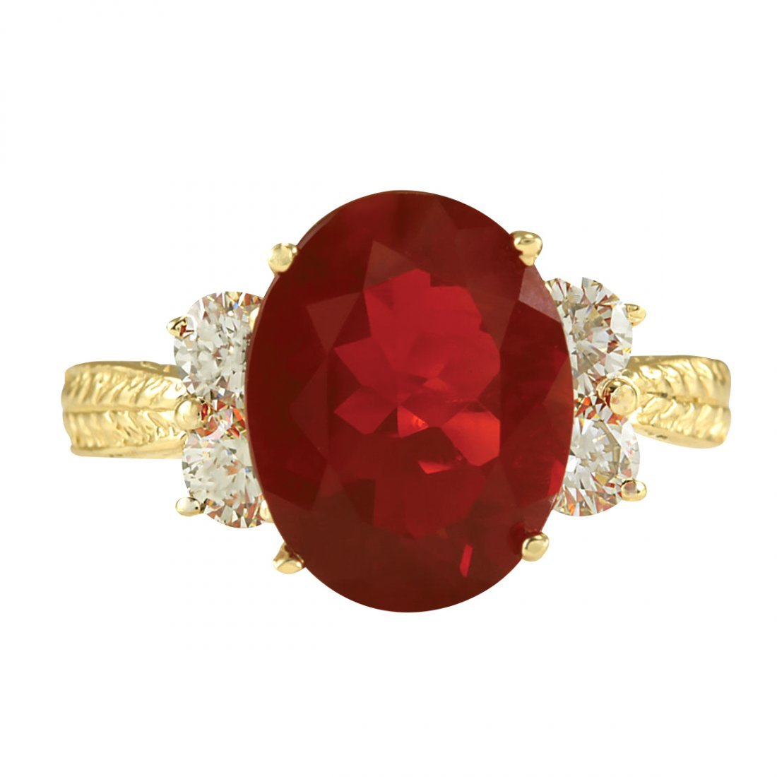 3.88CTW Natural Mexican Fire Opal And Diamond Ring In